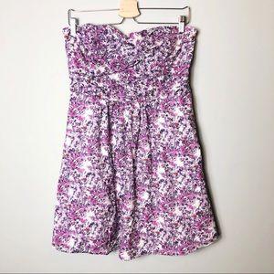Express | Lavender Floral Mini Strapless Dress